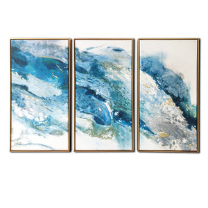 """Abstract Regalite Triptych"" Floating Canvas Wall Art"