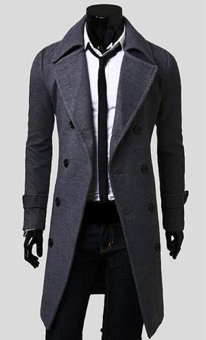 Men's Fashionable Slim Trench Long Coat