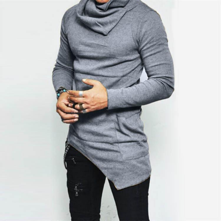 Men's Fashionable Turtleneck Asymmetric Long Sleeves