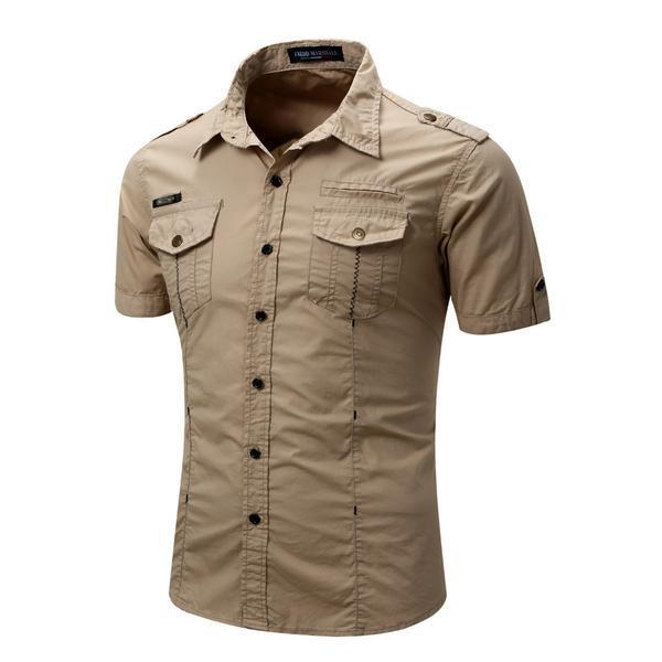 Men's Casual Solid Cargo Shirt