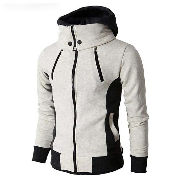 Mens Two Tone High Collar Windproof Hoodie