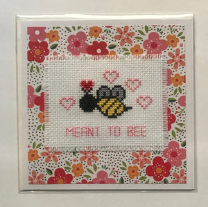 cross stitch card handmade bee Honeychild