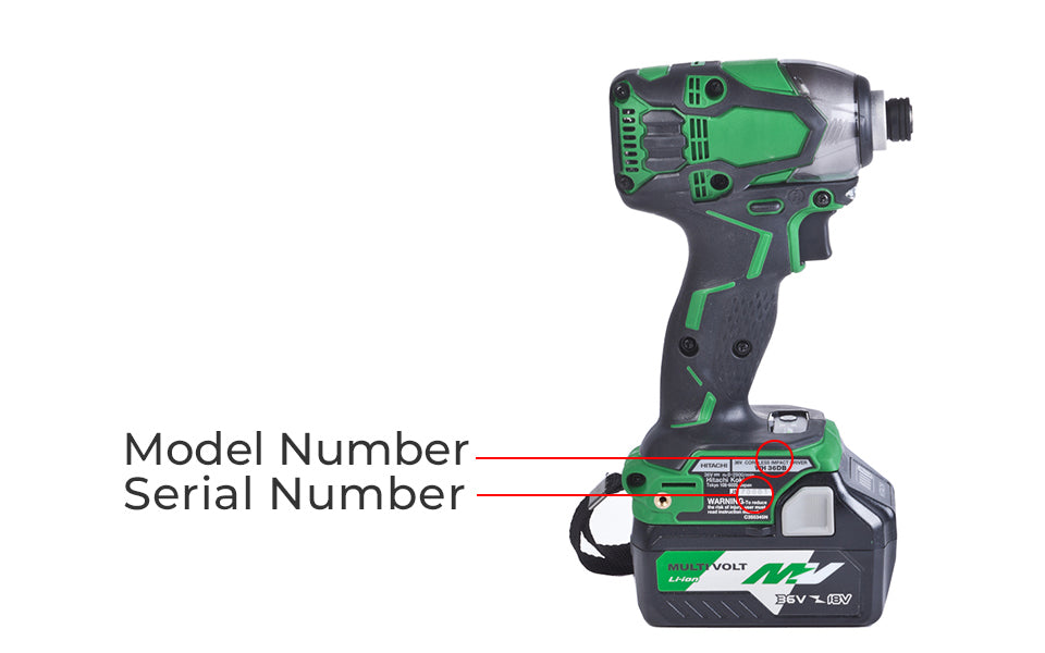 Hitachi Power tool model number location