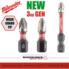 NEW 2020 Milwaukee PZ2 PH2 50 & 25mm Shockwave Impact Duty Screwdriver Bits 3rd GEN