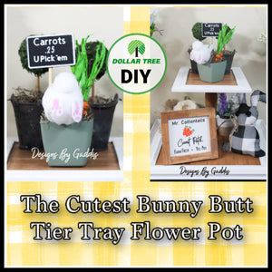 Easter Bunny Butt Tiered Tray Pot Decor | Dollar Tree Spring Decor DIY