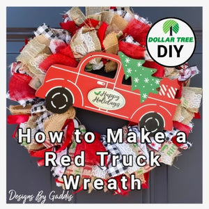 How to Make a Red Truck Christmas Ribbon Wreath | Dollar Tree DIY