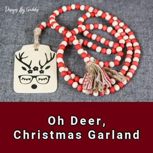 Oh Deer, Wood Bead Christmas Garland | Farmhouse Christmas Garland