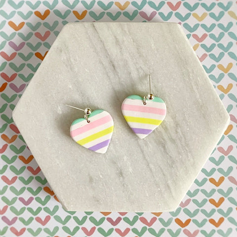 Candy Stripe Heart Ball Stud