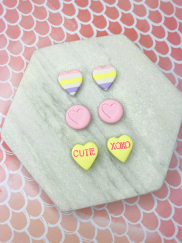 Yellow Conversation Heart Stud Pack
