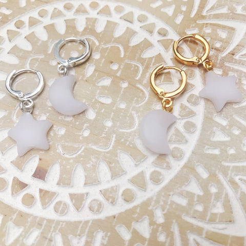 Dainty Hoops - White Moon & Star