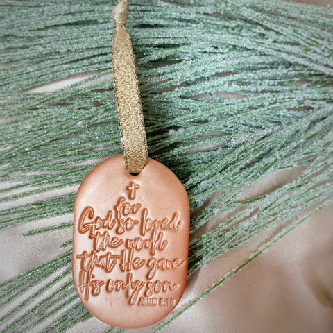 For God So Loved The World Christmas Ornament - Copper