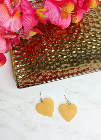 Peach Heart Ball Stud