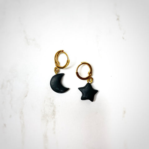 Dainty Hoops - Black Moon & Star