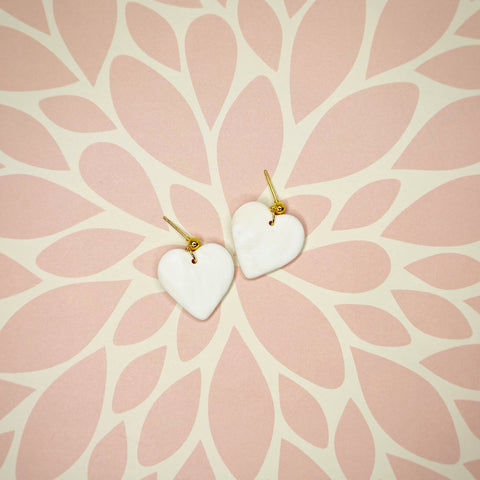 Ivory Heart Ball Stud