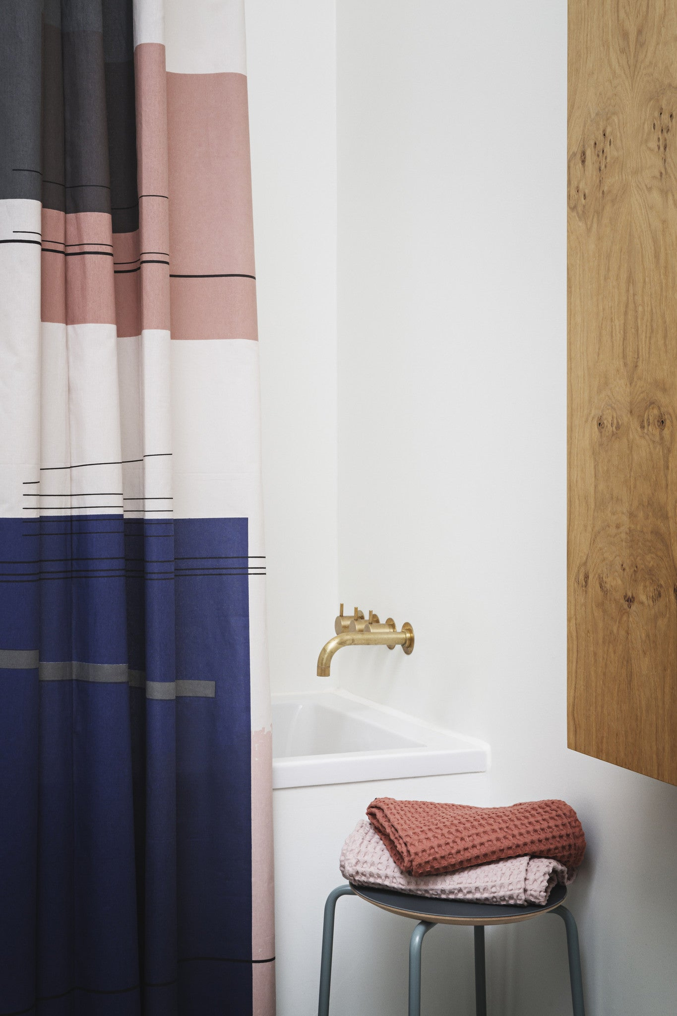 Color Block Shower Curtain