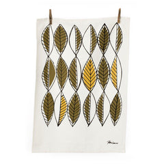 Retro Leaves (Curry) Tea Towel