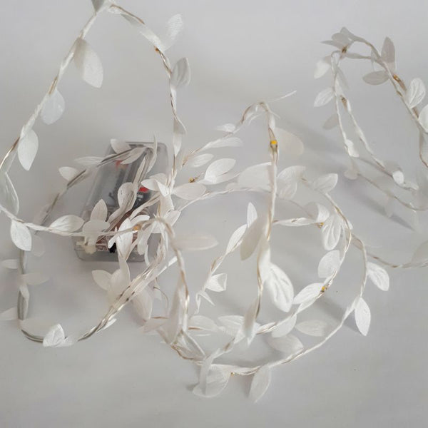 LED white leaf garland fairy lights - battery - wedding