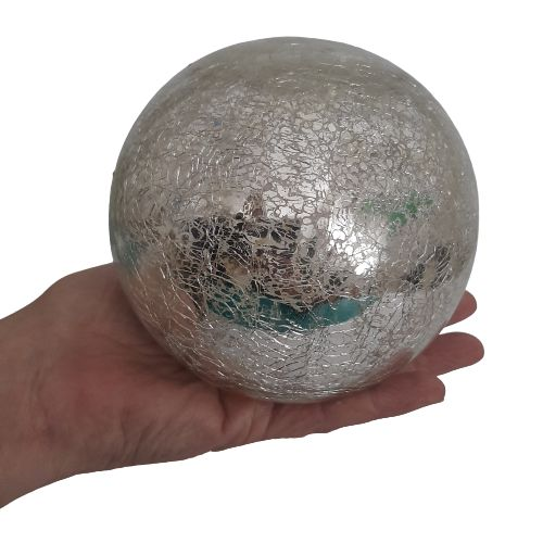 LED glass light ball - silver