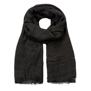 black crushed viscose scarf