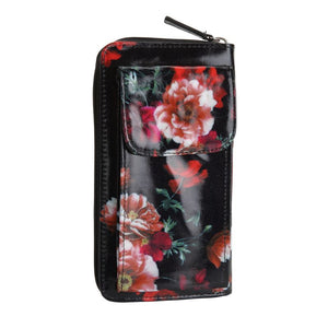 black floral mobile wallet