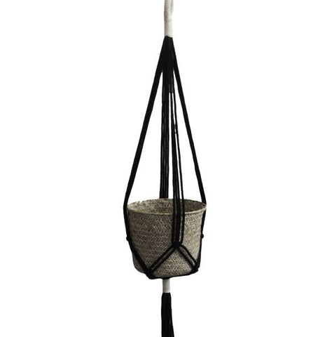 black macrame rope pot plant hanger