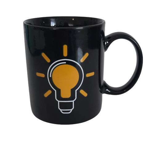 black heat changing mug - light bulb
