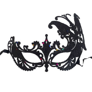 black glitter fancy dress mask