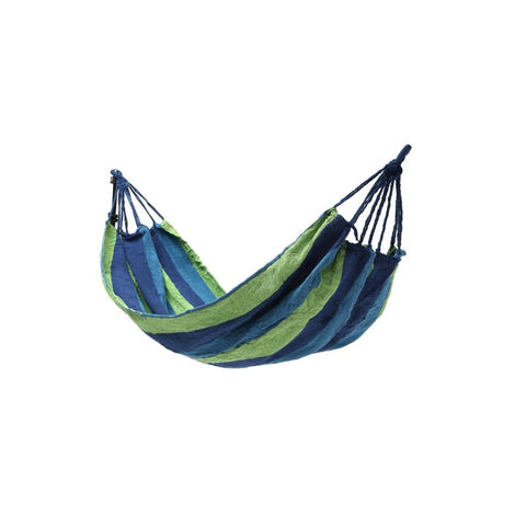 blue and green striped hammock
