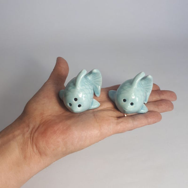 blue fish mini salt and pepper shakers