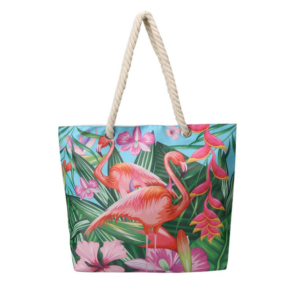 blue flamingo beach bag
