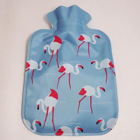 blue flamingo mini hot water bottle