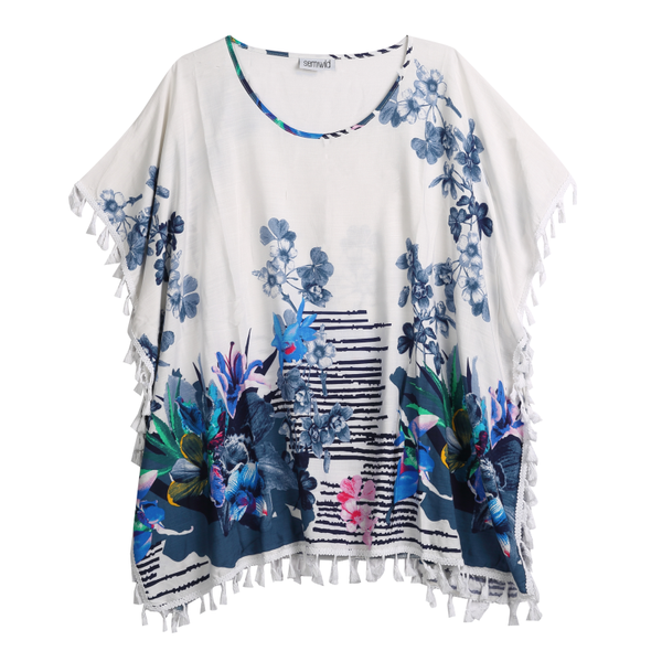 blue and white floral kaftan top