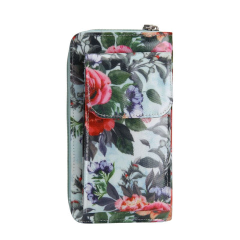 blue floral mobile wallet