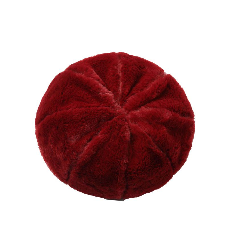 burgundy faux fur beret