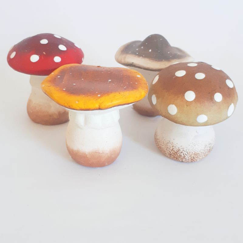 ceramic mushroom set of 4