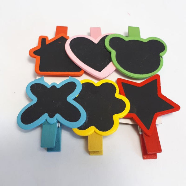 colourful blackboard pegs - shapes - set of 6