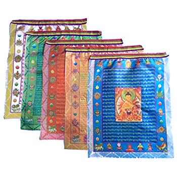 colourful multicolour buddhist prayer flags