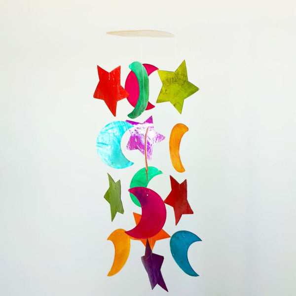colourful mother of pearl wind chimes - stars and moons