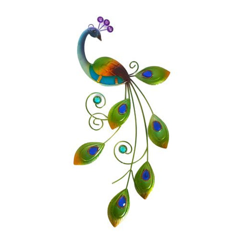 colourful peacock wall hanging