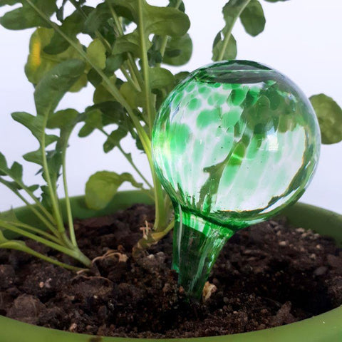 green glass watering globe