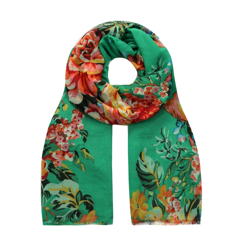 green Spanish floral scarf