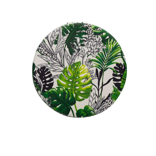 green tropical leaf compact mirror