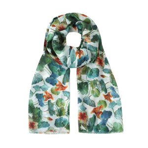 green and blue nasturtium scarf