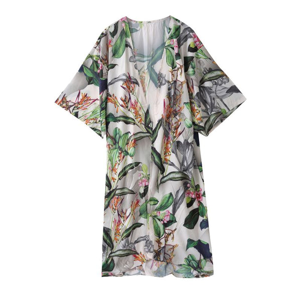 green and white botanical kimono