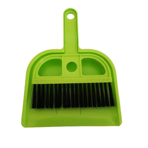 green mini dustpan and brush