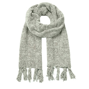light grey chenille winter scarf