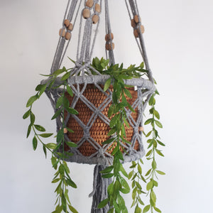 grey macrame rope pot plant hanger