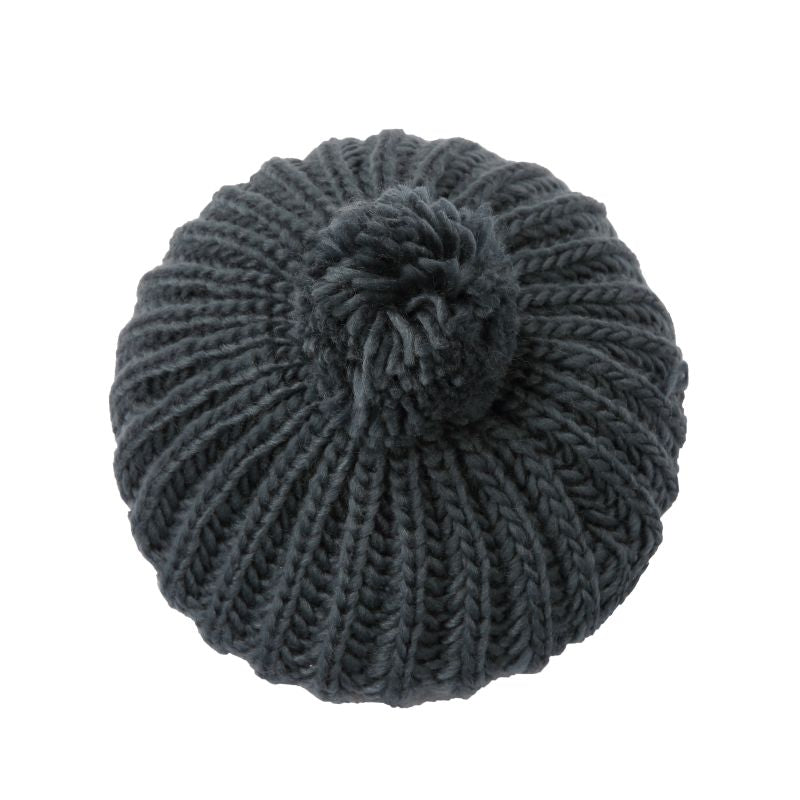 charcoal grey knitted beret with pom pom