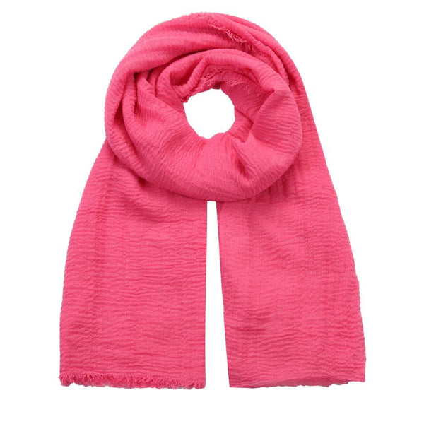 hot pink crushed viscose scarf