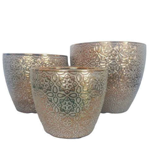 metallic gold pots - set of 3